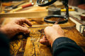 Senior Wood Carving Professional During Work Stock Photo - 93979260