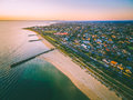 Aerial View Of Port Phillip Bay And Melbourne Coastline Suburban Royalty Free Stock Photos - 93986988