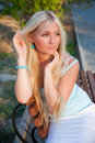Lovely Beautiful Blonde Woman Outdoor Royalty Free Stock Photography - 9403107