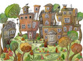 Watercolor Cartoon Houses And Trees On Mountain. Little Fairy Village. Royalty Free Stock Photos - 94007628