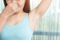 Woman With Body Odor Royalty Free Stock Images - 94009069