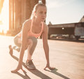 Sporty Girl On Street Royalty Free Stock Image - 94016716
