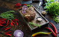Roasted Meat With Onions, Garlic, Spices, Fresh Herbs, Red Pepper And Salt Royalty Free Stock Photos - 94018468