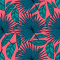 Seamless Vector Tropical Pattern. Tropical Color Leaves, Jungle Leaves. Stock Image - 94023371