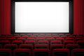 Vector Movie Theatre Background With White Screen Red Curtains And Chairs. Royalty Free Stock Photo - 94032185