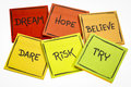 Dream, Hope, Believe, Dare, Risk, And Try Royalty Free Stock Photography - 94044737
