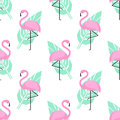 Tropical Trendy Seamless Pattern With Pink Flamingos And Green Palm Leaves On White Background. Royalty Free Stock Image - 94074436