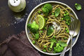 Wholewheat Organic Pasta With Green Vegetables.Top View. Stock Image - 94080671