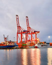 View Of The Crane From The Industrial Sea Port Of Mersin. TURKEY MERSIN, TURKEY - Royalty Free Stock Photos - 94082898