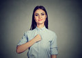 Confident Young Woman Isolated On Gray Wall Background Stock Image - 94083431