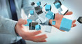 Businessman Holding Floating Blue Shiny Cube Network 3D Renderin Royalty Free Stock Image - 94091766
