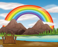 Scene With Rainbow Over The River Royalty Free Stock Photo - 94115415