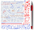 VECTOR Set Of Hand Drawn Doodle Icons And Realistic Pen. Elements Set. Red, Orange And Blue Colors Stock Photography - 94135672