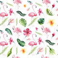 Tropical Isolated Seamless Pattern With Flamingo. Watercolor Tropic Drawing, Rose Bird And Greenery Palm Tree, Tropic Stock Photography - 94138642