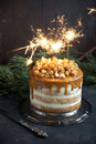 Caramel Party Cake With Popcorn Royalty Free Stock Photos - 94141758