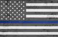 Weathered USA Thin Blue Line Flag Stock Photography - 94143342