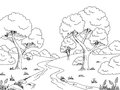 Forest River Graphic Black White Landscape Sketch Illustration Stock Photography - 94162452