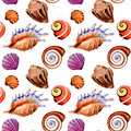 Watercolor Summer Beach Seashell Tropical Elements Pattern, Underwater Creatures. Royalty Free Stock Photos - 94166108