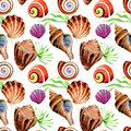 Watercolor Summer Beach Seashell Tropical Elements Pattern, Underwater Creatures. Stock Photo - 94166210