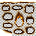 Collection Of Burnt Faded Holes Piece Burned Paper Realistic Fire Flame Isolated Page Sheet Torn Ash Vector Illustration Stock Photography - 94180042
