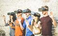 Friends Group Playing On Vr Glasses Outdoors - Virtual Reality Stock Photography - 94183192