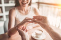 Couple In Love In Cafe Stock Images - 94188294