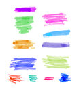 Hand Drawn Colorful Highlight Stripes Design Elements Brushes Strokes. Stock Photo - 94200490