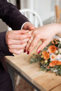 Wedding Rings And Hands Of Bride And Groom. Young Wedding Couple At Ceremony. Matrimony. Man And Woman In Love. Two Happy People C Stock Image - 94216451