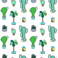Green Cactus  Seamless Pattern On White Background. Green Plants Pattern Tile Royalty Free Stock Image - 94220736