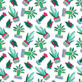 Cactus Doodle  Illustration On White Background. Green Plants Pattern Tile. Royalty Free Stock Photo - 94220965
