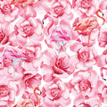 Seamless Composition Pink Flamingo And Roses White Background Royalty Free Stock Images - 94252999