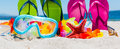 Scuba Mask And Colorful Flip Flops Royalty Free Stock Image - 94253156
