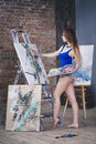 Young Female Artist Painting Abstract Picture In Studio, Beautiful Sexy Woman Portrait Royalty Free Stock Images - 94259999