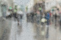 Raindrops On Window Glass, People Walk On Road In Rainy Day, Blurred Motion Abstract Background. Concept Of Shopping Stock Images - 94264774