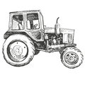 Farm Tractor Hand Drawn Vector Illustration Sketch Royalty Free Stock Images - 94270399
