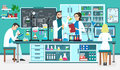 Laboratory People Assistants Working In Scientific Medical Biological Lab. Chemical Experiments. Cartoon Vector Stock Photo - 94280150