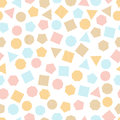 Seamless  Geometric Pattern With Multicolored Squares, Triangles, Circles, Pentagons, Hexagons And Heptagons For Tissue And Postca Stock Photos - 94291743