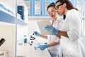 Young Scientists Using Digital Tablet While Making Experiment In Chemical Laboratory, Scientists Working Together Stock Images - 94296634