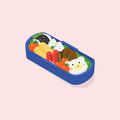 Japanese Lunch Box, Bento. Funny Cartoon Food. Isometric Colorful Vector Illustration On Pink Background. Royalty Free Stock Photos - 94299458
