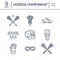 Lacrosse Sport Game Vector Line Icons. Ball, Stick, Helmet, Gloves, Girls Goggles. Linear Signs Set, Championship Stock Images - 94299474