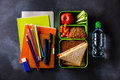 Take Out Food Lunch Box With Sandwiches Water And School Supplies Royalty Free Stock Image - 94308456