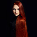 Sexy Beautiful Redhead Girl With Long Hair. Perfect Woman Portrait On Black Background. Gorgeous Hair And Deep Eyes Natural Beauty Royalty Free Stock Image - 94328776