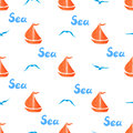 Seamless Marine Pattern With Boats And Seagulls On White. Royalty Free Stock Photography - 94331227