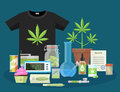 Marijuana And Smoking Equipment Flat Icons, Illustration Of Medical Cannabis Ganja Growing And Accessories Vector Illustration Stock Image - 94332381
