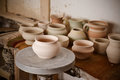 Clay Pot On A Potter`s Wheel Stock Image - 94336381