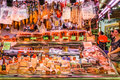 Meat, Cheese And Dairy Products For Sale In Santa Catarina Market Of Barcelona City Stock Images - 94337184