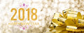 Happy New Year 2018 With Golden Gift Box With Big Bow At Sparkli Royalty Free Stock Photo - 94351045