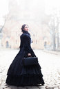 Outdoors Portrait Of A Victorian Lady In Black Stock Image - 94356891