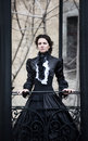 Outdoors Portrait Of A Victorian Lady In Black Stock Photos - 94356893