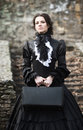 Victorian Lady In Black. Stock Images - 94356944